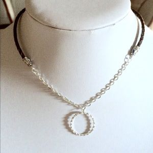 Braided Leather silver choker necklace